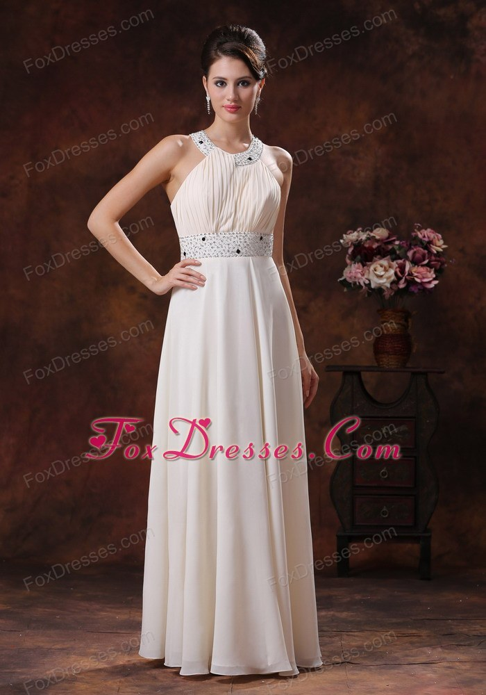Scoop High Neck Chiffon Prom Dresses Beading Column