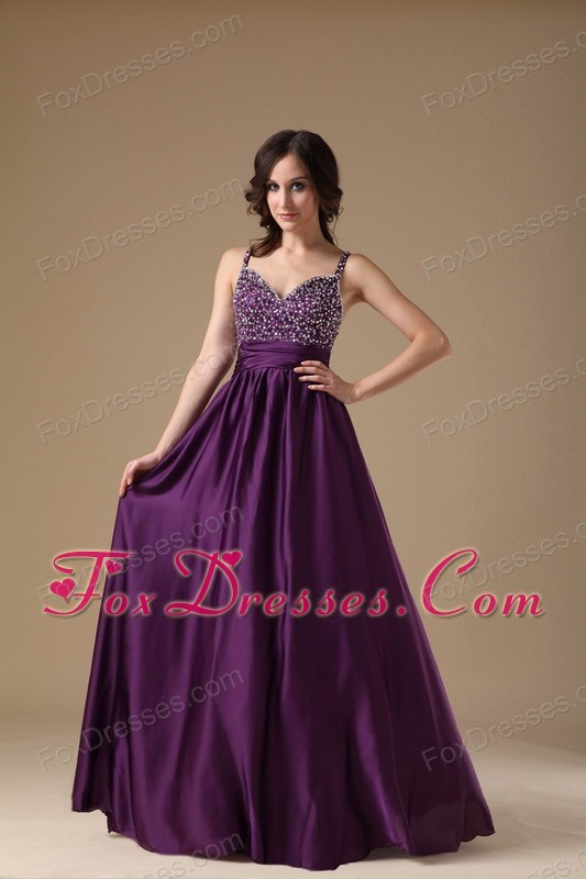 Spaghetti Straps Dark Purple Empire Prom Dresses V-neck Beading