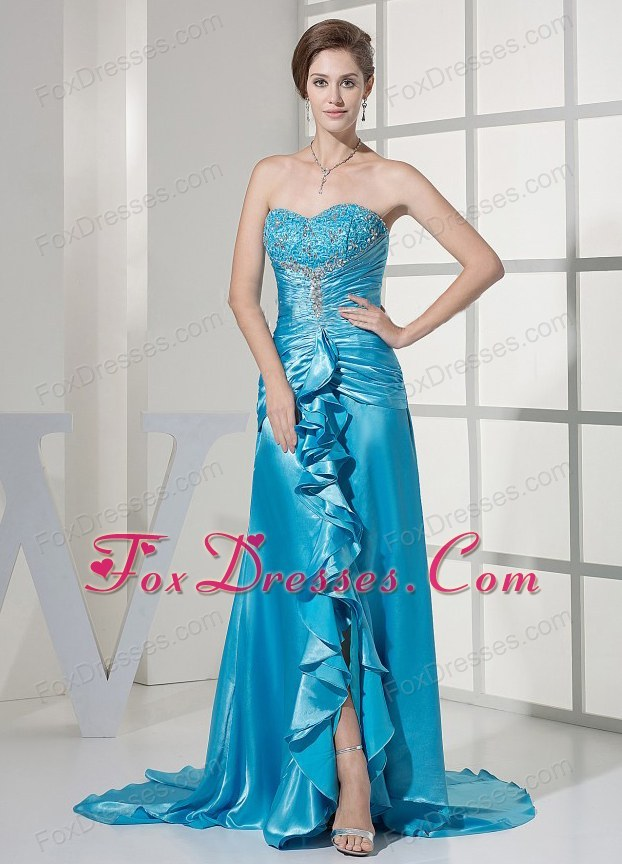 Beaded Teal Prom Dress Elastic Woven Satin Ruffled