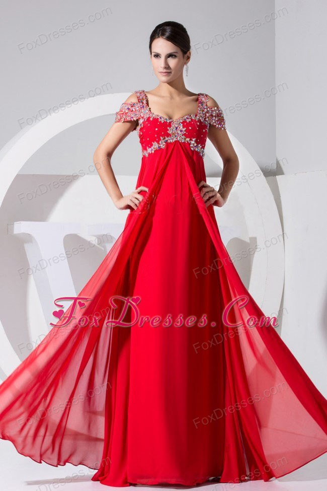 Red Straps 2013 Prom Dress Floor-length Beading