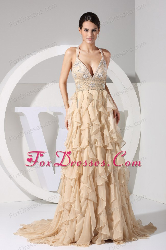 Embroidery Ruffles Straps Prom Dress Brush Champagne