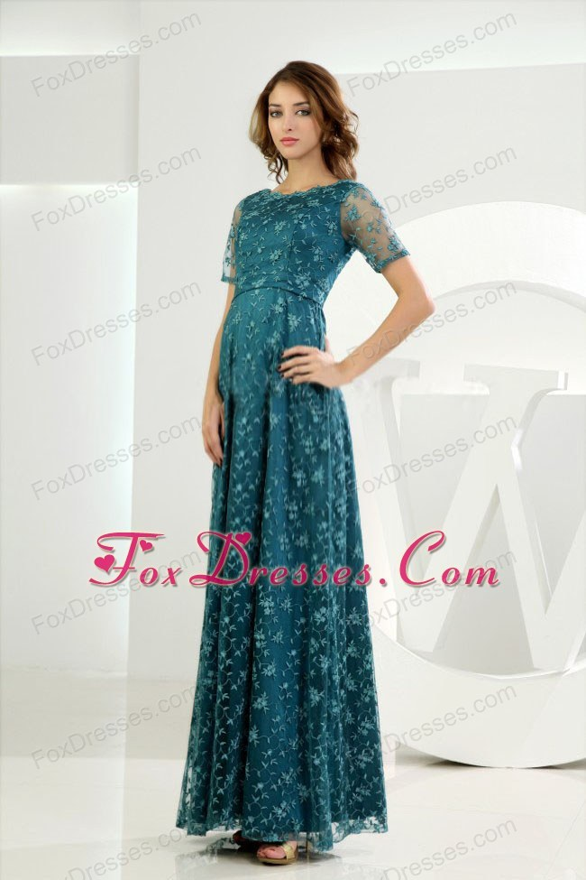 Scoop Embroidery Ankle-length Mother of the Bride Dress
