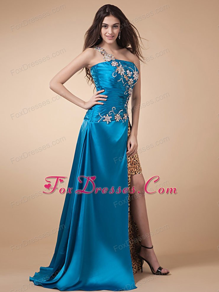 Leopard High Silt Appliques Ruche Blue Prom Graduation Dress