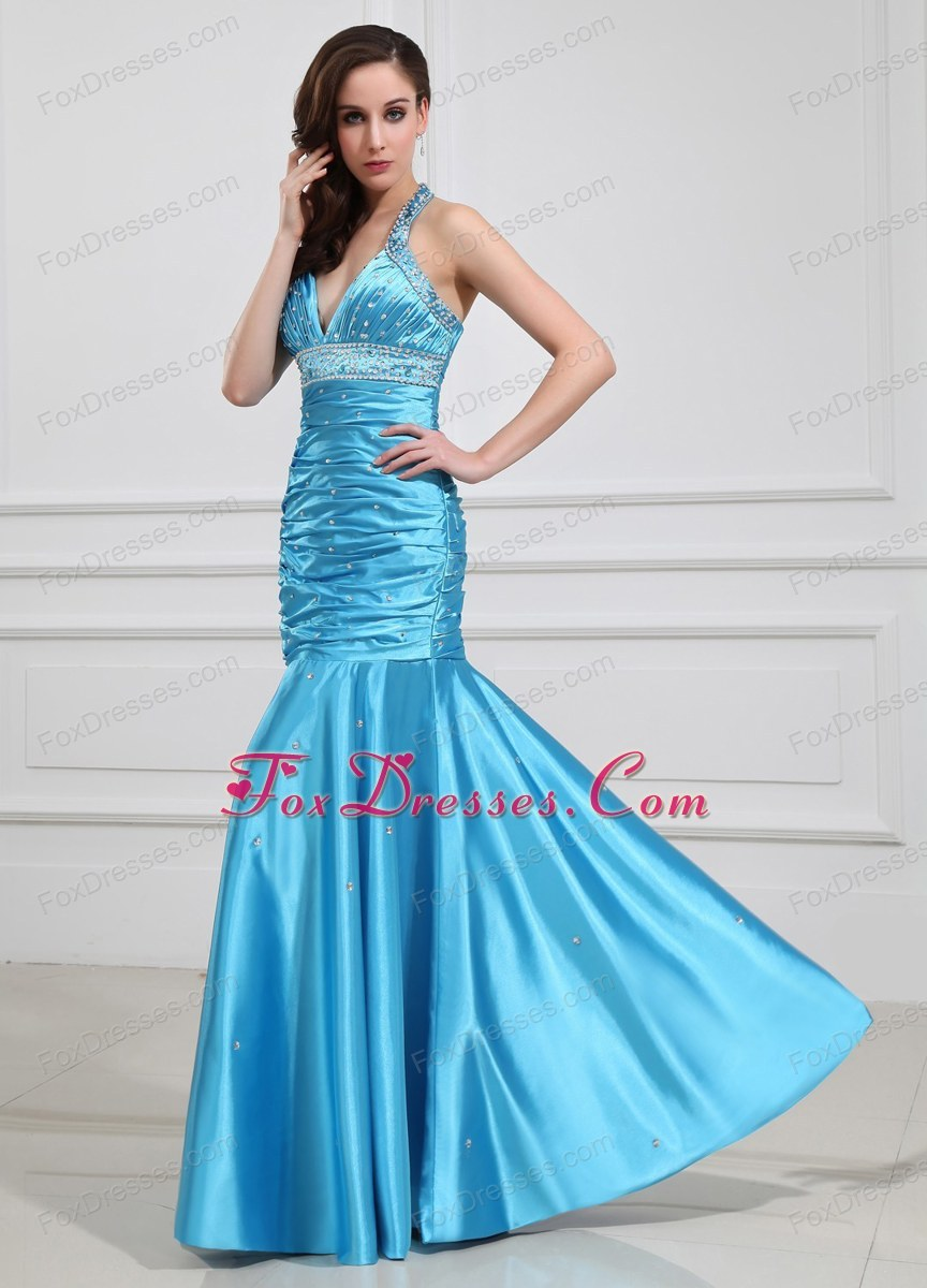 Aqua Blue Mermaid Beading Halter Prom Formal Evening Dresses