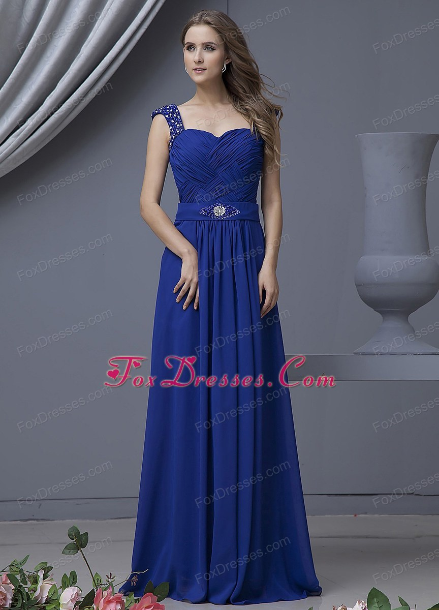 Beading Decorate Bodice Straps Blue Prom Dress