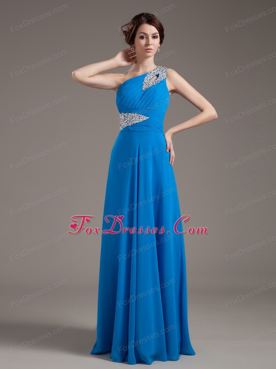 Beading One Shoulder Blue Prom Dress Floor-length
