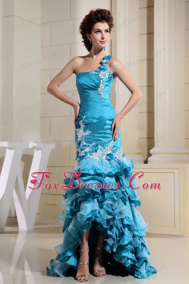 High-low Teal Mermaid Prom Dress Appliques Ruffled Layers