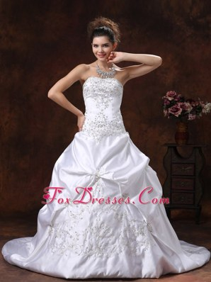 Plus Size Wedding Dress Pick-ups Brush Train Embroidery