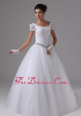 Scoop Wedding Dress 2013 Short Sleeves Plus Size Ball Gown