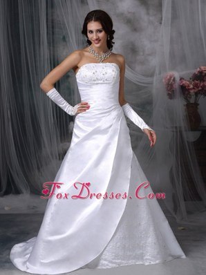 Elegant Satin Embroidery Wedding Bridal Gowns Court Train