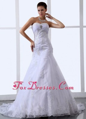 Elegant Lace Appliques Sweetheart Tulle Wedding Dress