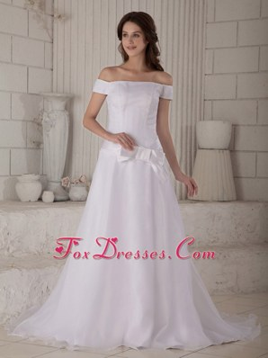 Off The Shoulder Bowknot Wedding Dress Court Train Organza