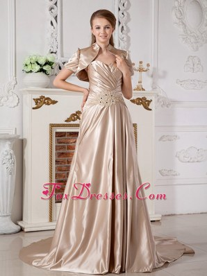 Champagne Court Train Satin Appliques Wedding Dress 2013