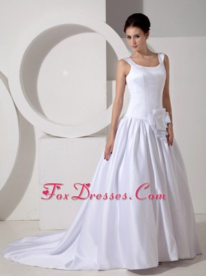 Scoop Court Train A-line Satin Wedding Dress Plus Size
