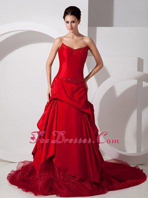 Red Appliques Bridal Wedding Dress Court Train 2013 Elegant