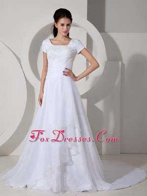 Square Beading Wedding Dress Ruched Court Train Satin 2013