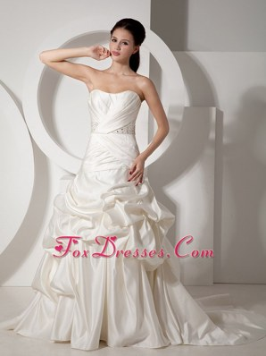 Ivory Beading Court Train Satin Ruch Wedding Dress 2013 New