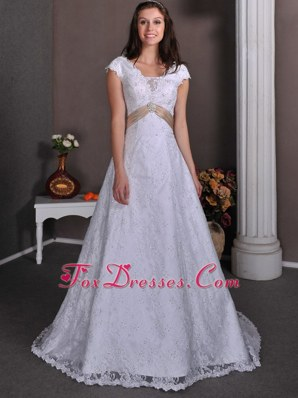 Lace V-neck Colored Sash Wedding Dress Beaded Court Train