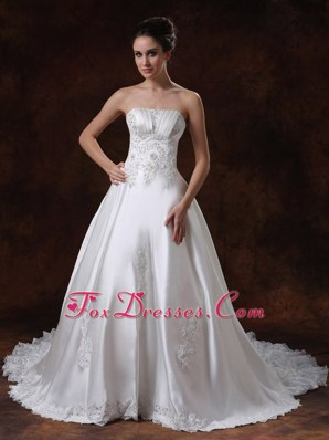 Elegant Beading Chapel Train 2013 Wedding Dress Taffeta