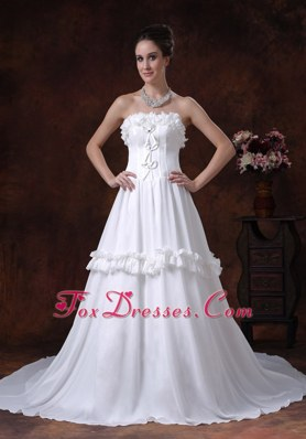 Ruffles Wedding Dress Romantic 2013 Chiffon Chapel Train