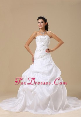 Pick-ups Embroidery 2013 Wedding Dress Chapel Train Taffeta