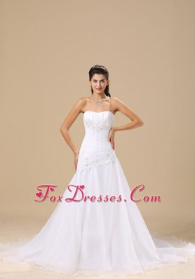 Appliques Wedding Dress Simple Style Elegant Chapel Train