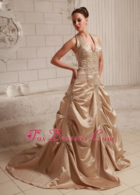 Champagne Halter Taffeta Appliques Wedding Dress Beading Train