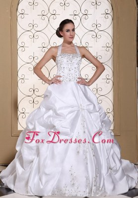 Beading Halter Wedding Dress 2013 Embroidery Satin Pick-ups