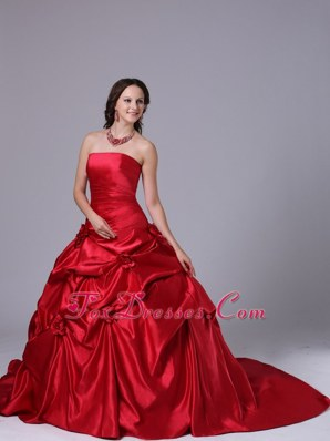 Wine Red Pick-ups Wedding Dress Court Train 2013 Ball Gown