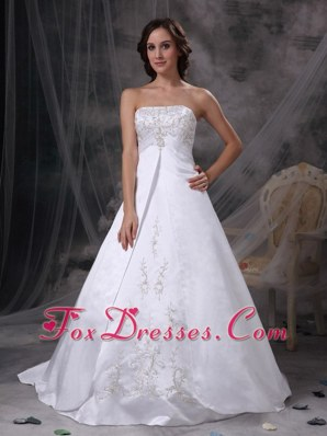 2013 Plus Size Wedding Dress Court Train Satin Embriodery