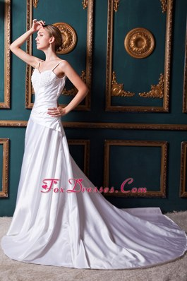 A-line Straps Chapel Train Taffeta Beading Wedding Dress