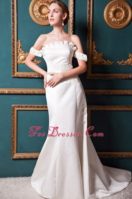 A-line Off The Shoulder Court Train Satin Wedding Dress