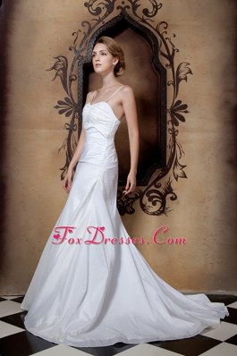 Simple Spaghetti Court Train Taffeta Ruch Wedding Dress