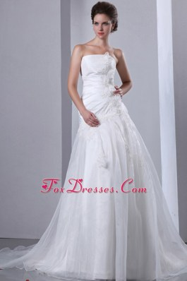 A-line Court Train Taffeta Organza Appliques Wedding Dress