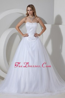 A-line Princess Wedding Dress Court Train Tulle