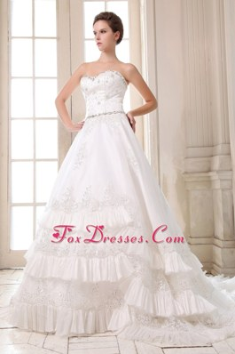 Tiered Court Train Wedding Dress Taffeta Beading Appliques