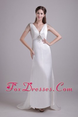 White Column V-neck Brush Train Beading Prom Dress