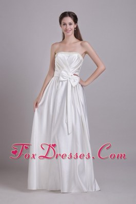 Empire Taffeta Beading and Bowknot Wedding Dress