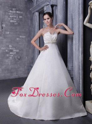 A-Line Princess Strapless Chapel Train Wedding Dress