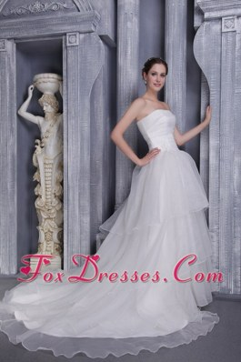 A-Line Princess Strapless Taffeta Organza Wedding Dress