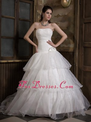 A-line Strapless Sweep Train Wedding Dress with Hand Made Flower