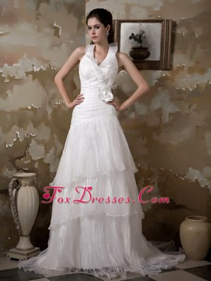 Halter Court Train Hand Made Flower Wedding Dress A-line