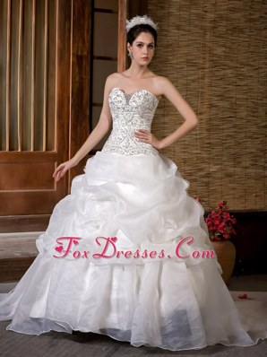 Embroidered with Beading Court Train Pick-ups 2013 Bridal Gown Wedding Dress