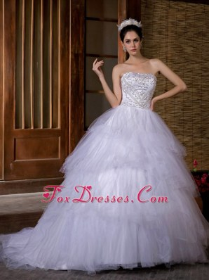 Layered Ball Gown Beading Chapel Train Wedding Dress 2013