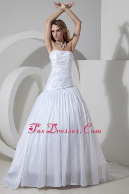 Cheap Beading Wedding Dress 2013 Ruched Taffeta Court Train