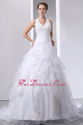 Appliques Halter Court Train Bridal Wedding Dress Layered