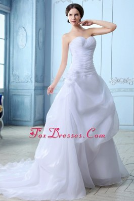 Ruch A-line Sweetheart Court Train Organza Wedding Dress