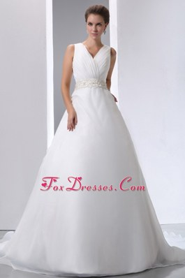 A-line V-neck Court Train Beading and Ruch Wedding Dress
