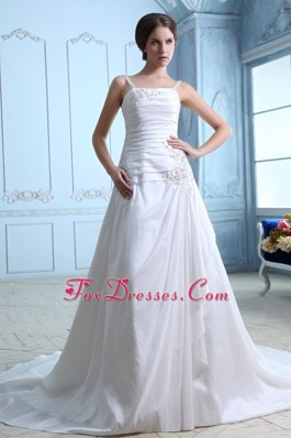 2014 Ruched and Appliqued A-line Wedding Dress with Straps