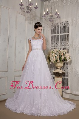 Brand New Square Court Train Lace Sash Wedding Dress 2013